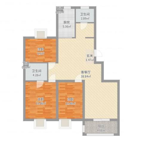 中央华府3室2厅2卫1厨111.00㎡户型图