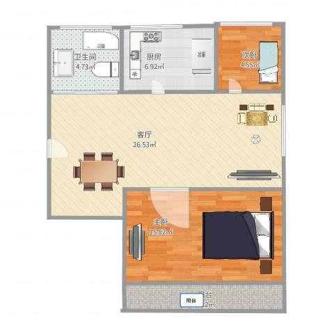 绿洲小区2室1厅1卫1厨67.00㎡户型图