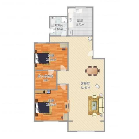 北虹公寓2室2厅1卫1厨112.00㎡户型图