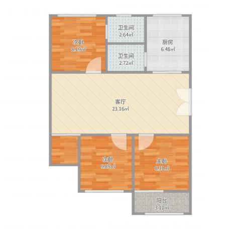格林花园3室1厅2卫1厨81.00㎡户型图