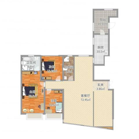 海景奥斯卡3室2厅2卫1厨192.00㎡户型图