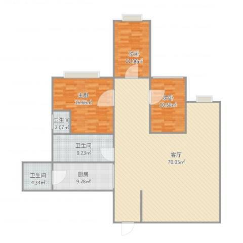 月亮湾3室1厅3卫1厨177.00㎡户型图