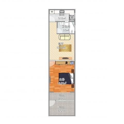 威宁小区1室1厅1卫1厨59.00㎡户型图