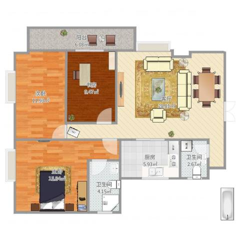 衍宏康馨花园2期3室1厅2卫1厨84.90㎡户型图
