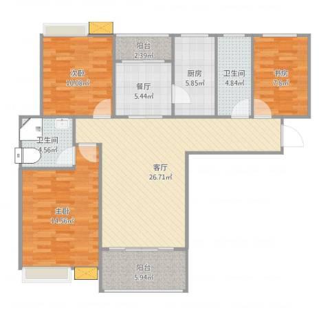 鑫苑世家3室2厅2卫1厨110.00㎡户型图