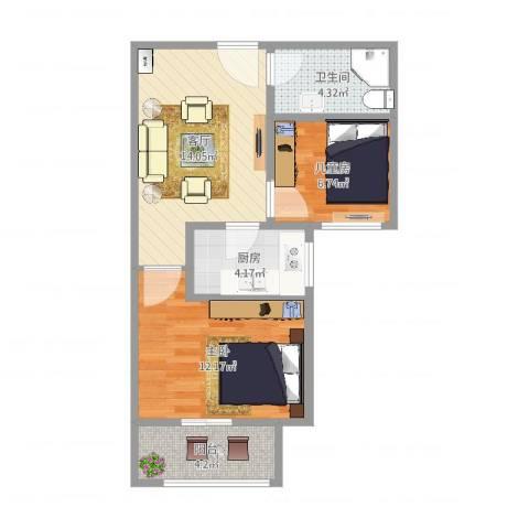 广厦聚隆广场2室1厅1卫1厨57.00㎡户型图
