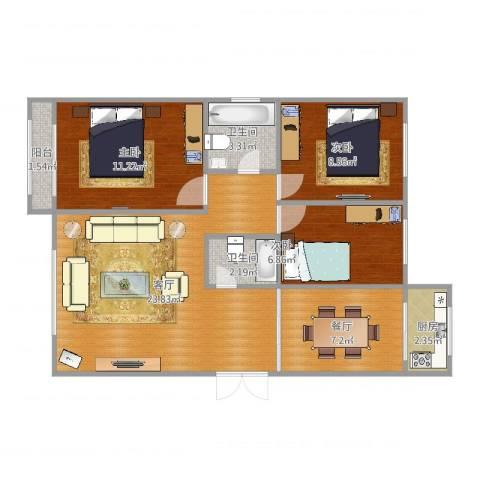 丽华甲第苑3室2厅2卫1厨84.00㎡户型图