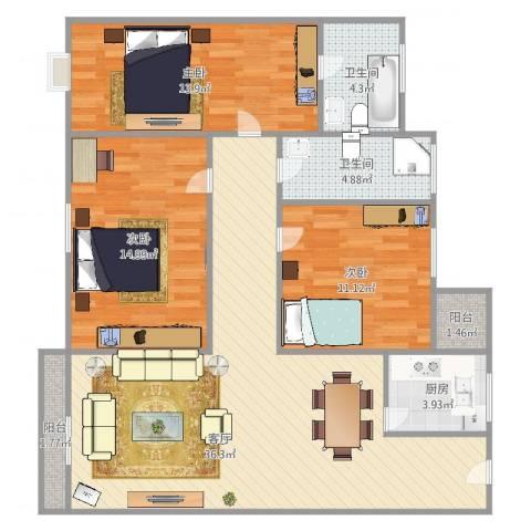 盈翠华苑3室1厅2卫1厨125.00㎡户型图