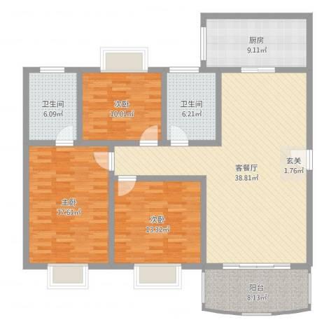 园景天下3室2厅2卫1厨137.00㎡户型图