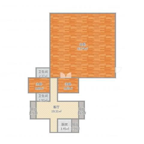 大冲都市花园3室1厅2卫1厨160.00㎡户型图