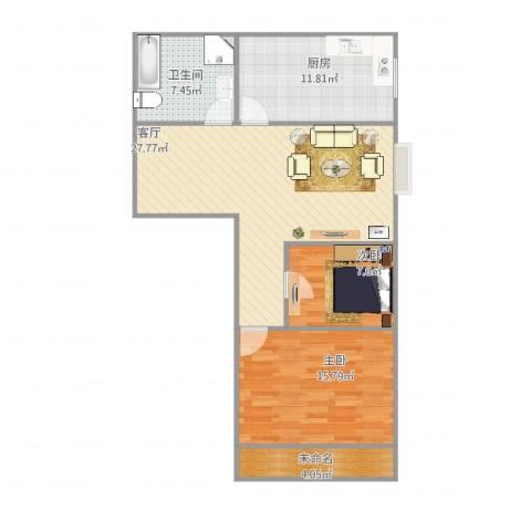 顺祥新区2室1厅1卫1厨100.00㎡户型图