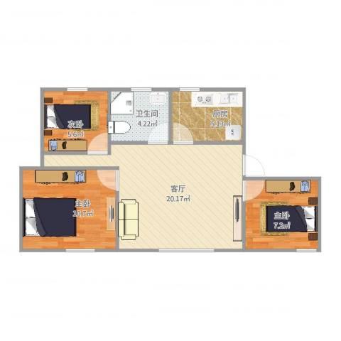 人乐三寸3室1厅1卫1厨72.00㎡户型图