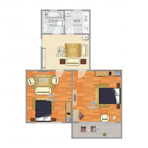 绿川公寓2室1厅1卫1厨102.00㎡户型图