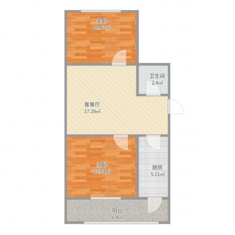青吉里2室2厅1卫1厨73.00㎡户型图