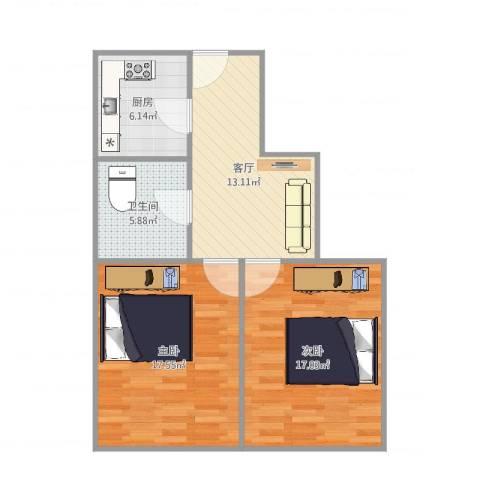临沂大楼2室1厅1卫1厨80.00㎡户型图