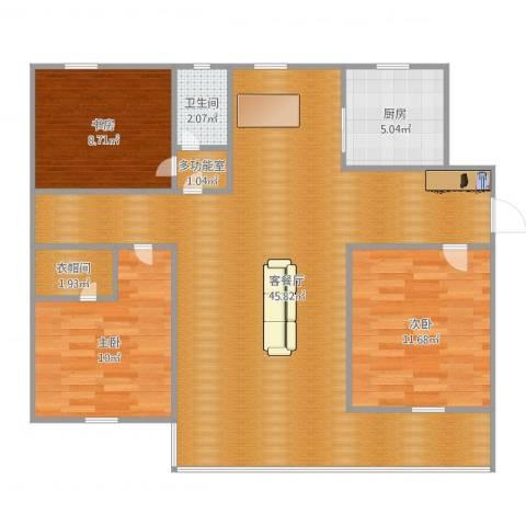 东方体育城3室2厅1卫1厨108.00㎡户型图