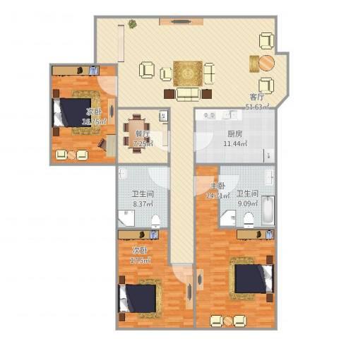 斜土路734弄小区3室2厅2卫1厨195.00㎡户型图