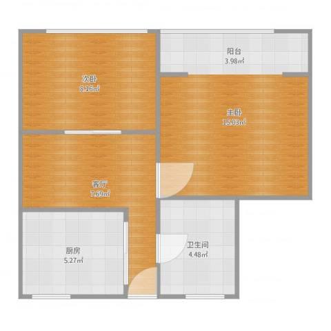 国和一村2室1厅1卫1厨51.00㎡户型图