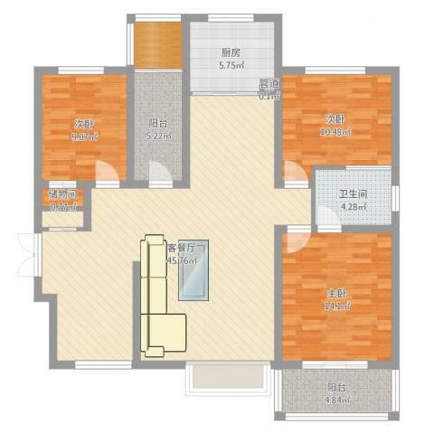 锦逸国际城3室2厅1卫1厨129.00㎡户型图