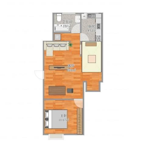 东陆新村五街坊1室1厅1卫1厨60.00㎡户型图
