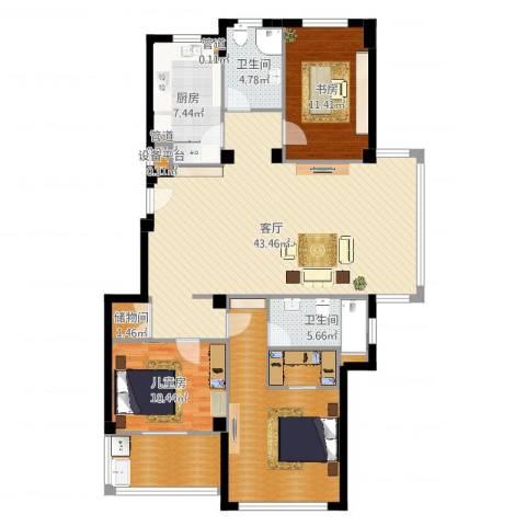 四季翠园3室1厅7卫1厨135.00㎡户型图
