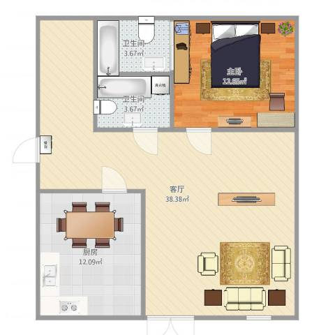 仓边路35号大院1室1厅2卫1厨88.00㎡户型图