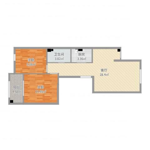 上林世家2室1厅1卫1厨77.00㎡户型图