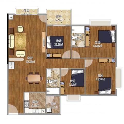 御景豪庭4室1厅2卫1厨161.00㎡户型图