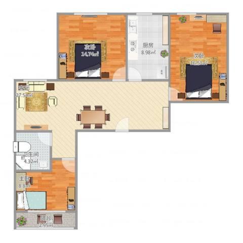 德裕家园3室1厅1卫1厨112.00㎡户型图