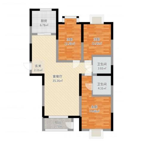 丽晶名邸3室2厅2卫1厨114.00㎡户型图