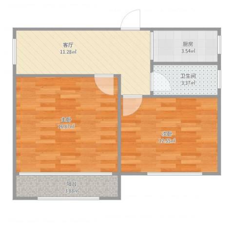 香山新村东北街坊一梯三户02室2室1厅1卫1厨70.00㎡户型图