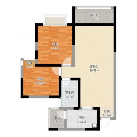 世通和府2室2厅1卫1厨87.00㎡户型图