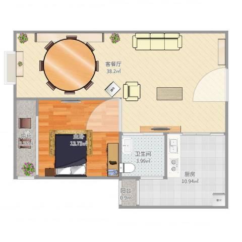 阳光威尼斯三期1室2厅1卫1厨95.00㎡户型图
