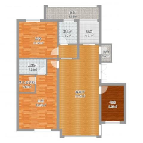 泰莱香榭里3室2厅2卫1厨130.00㎡户型图