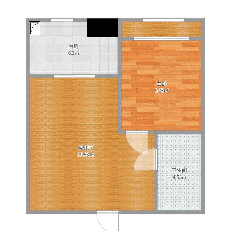一号公馆57.2方A1户型一室一厅