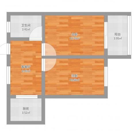 德州六村2室2厅1卫1厨52.00㎡户型图