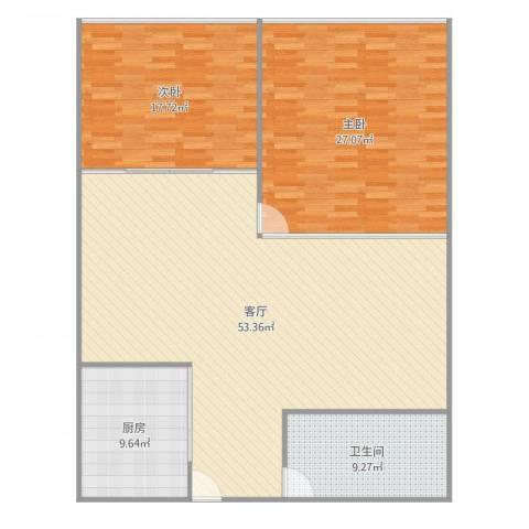 中环花园2室1厅1卫1厨146.00㎡户型图