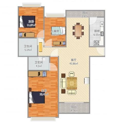 保利红珊瑚别墅3室1厅2卫1厨140.00㎡户型图