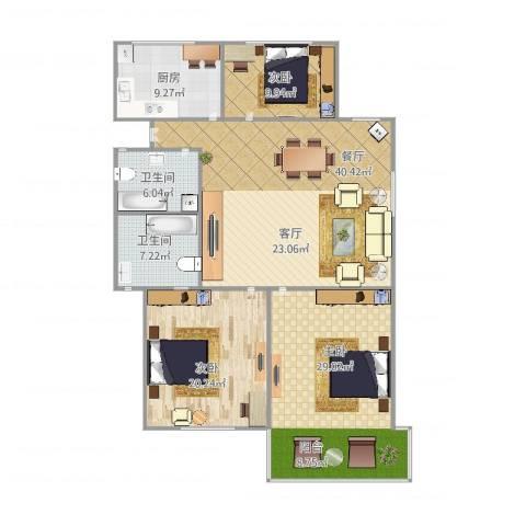 凤起御跸苑3室1厅2卫1厨161.00㎡户型图