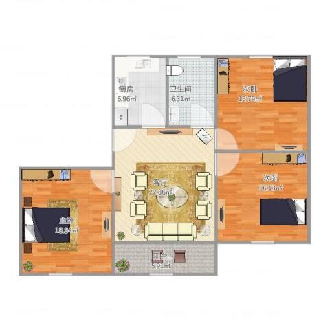 公园30003室1厅1卫1厨125.00㎡户型图