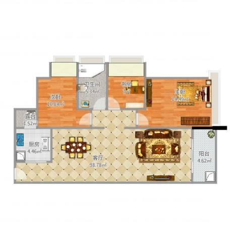 中信左岸3室1厅1卫1厨118.00㎡户型图