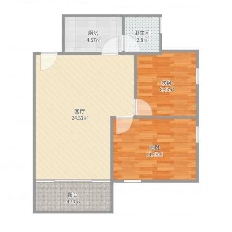 棠下远洋宿舍2室1厅1卫1厨71.00㎡户型图