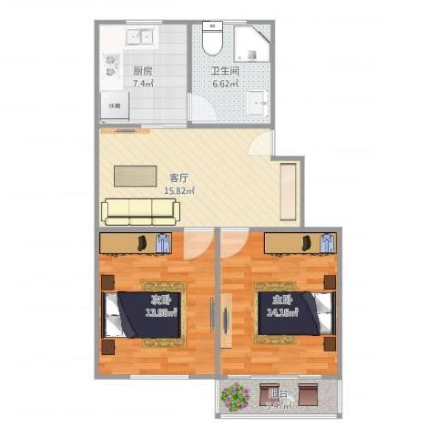 平阳一村2室1厅1卫1厨83.00㎡户型图