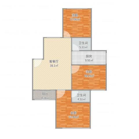 基业花园3室2厅2卫1厨159.00㎡户型图