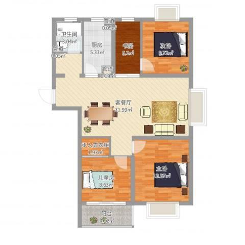东海精工社4室2厅1卫1厨120.00㎡户型图