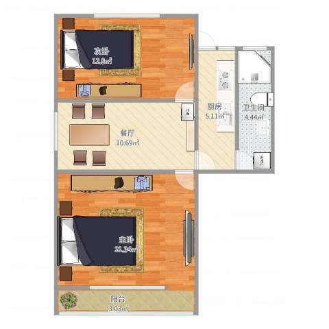 新泾一村2室1厅1卫1厨74.00㎡户型图