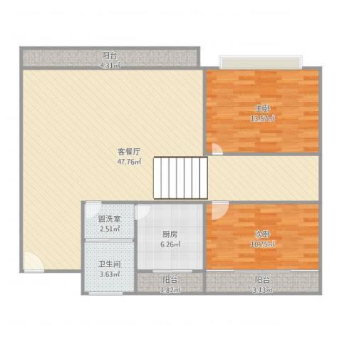 九亭明珠苑2室4厅1卫1厨126.00㎡户型图