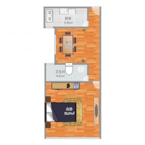 新泾五村1室1厅1卫1厨60.00㎡户型图