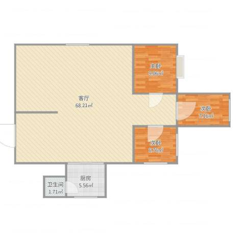 购物中心3室1厅1卫1厨130.00㎡户型图