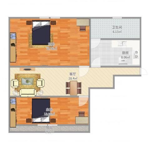 友谊二村2室1厅1卫1厨98.00㎡户型图